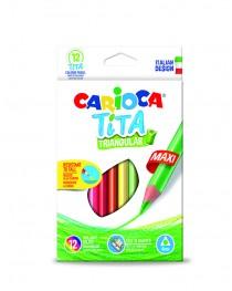 Carioca Tita Jumbo Üçgen Kuru Boya Kalemi 12'Li